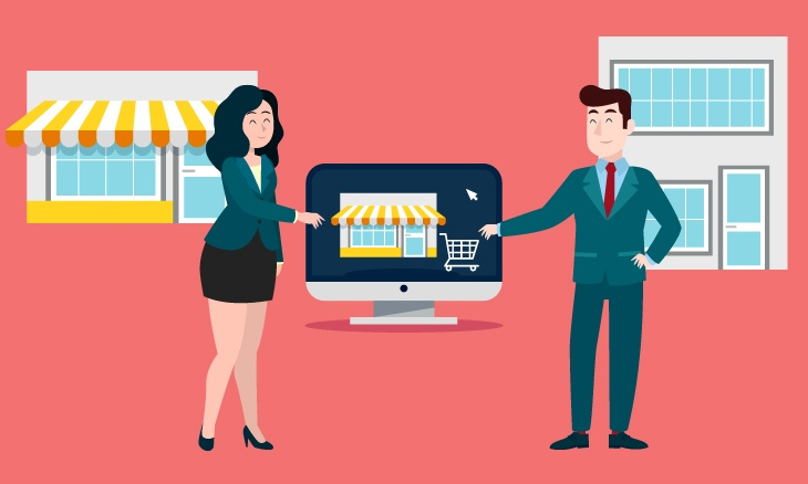 Une entreprise vendeuse et une entreprise acheteuse vont se serrer la main au dessus d'un ordinateur.