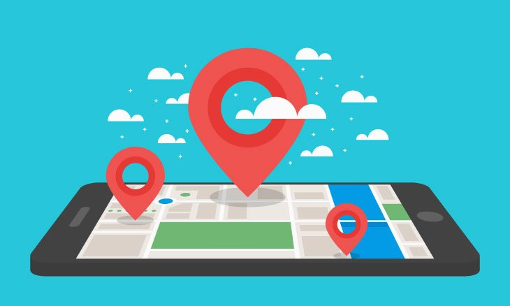 Smartphone avec logo de géo-localisation.