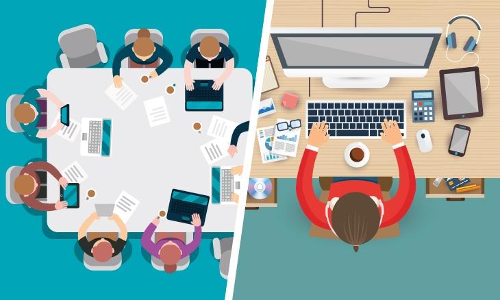 A gauche l'équipe d'une agence digitale, à droite un freelance.