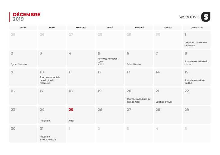 Le mois de décembre du Calendrier Marketing 2019 de Sysentive.