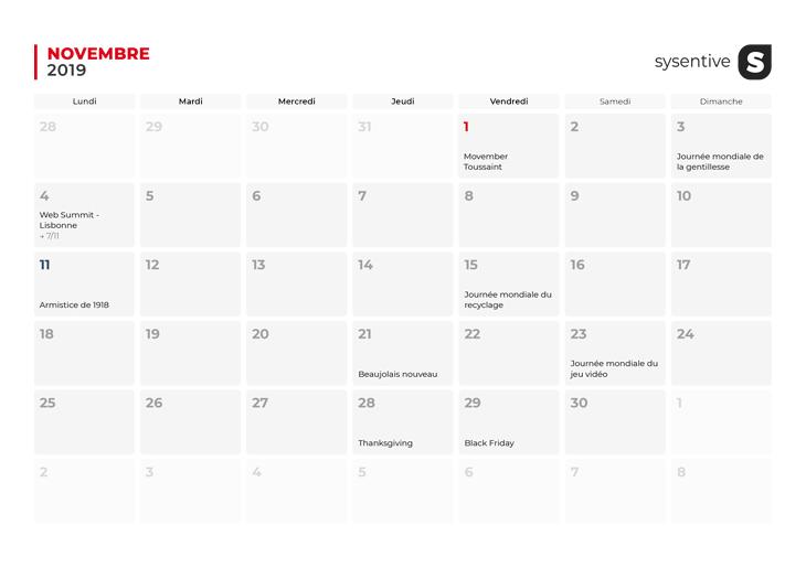 Le mois de novembre du Calendrier Marketing 2019 de Sysentive.