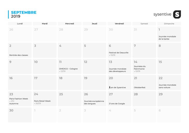 Le mois de mai du Calendrier Marketing 2019 de Sysentive.