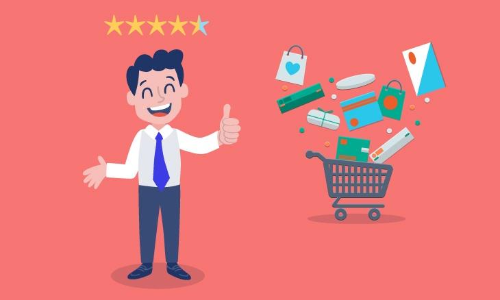 Un client heureux et un caddie représentant les achats sur internet.