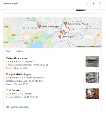 """Recherche pour """"épicerie"""" sur Google."""