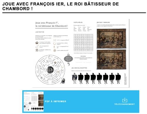 Les différents jeux pour enfants sur la page dédiée du Château de Chambord.