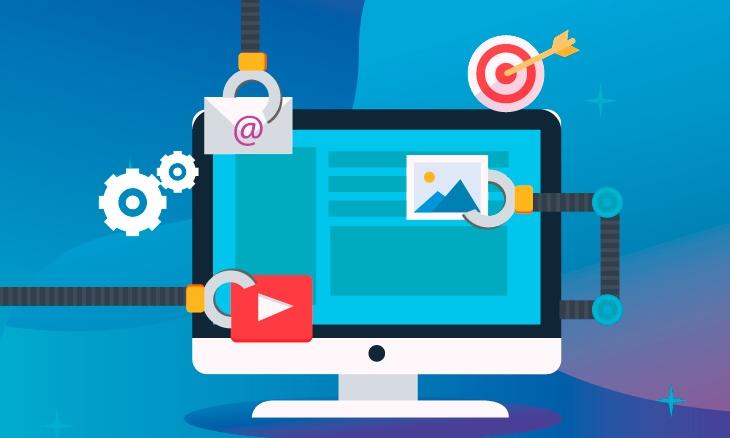 Illustration du marketing automation avec un ordinateur où plusieurs sources d'informations échangent entres elles : e-mail, ciblage, vidéo, etc.