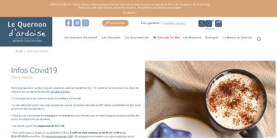 La page web de la marque Le Quernon d'Ardoise informe les clients des dispositions prises pour lutter contre le Coronavirus.