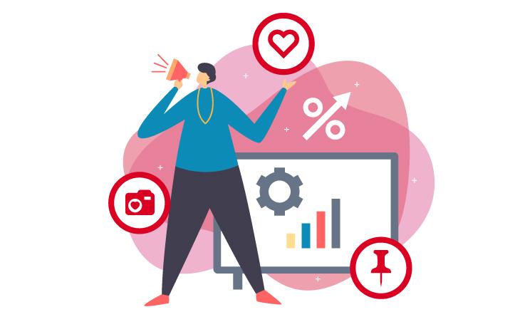 Visuel d'une personne autour de plusieurs icones du réseau social Pinterest (épingle, logo...)