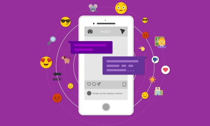 Smartphone entouré de différents emojis exprimant des émotions.