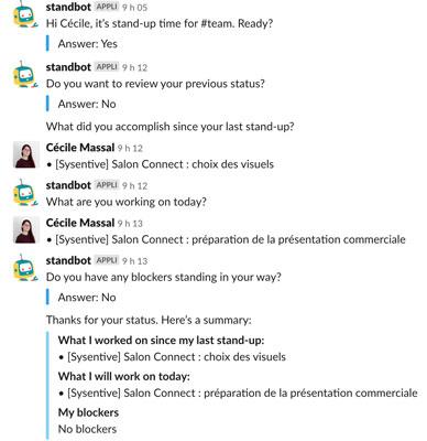 Capture d'écran du chatbot sur Slack de Sysentive