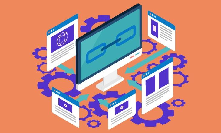 Ordinateur entouré de différentes pages web, mettant en valeur les liens entre elles.
