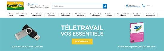 Page d'accueil du site web de Bureau Vallée