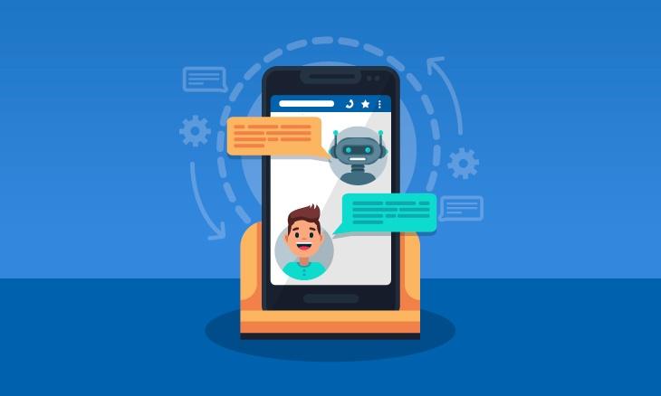 Smartphone nous montrant la relation entre un chatbot et un utilisateur.